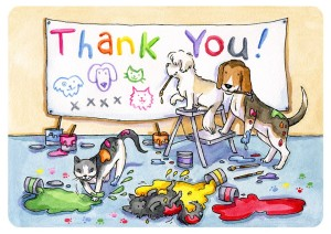 Thank you card with dogs