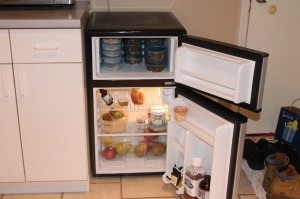 The dog food fridge for their favorite meals made by mama